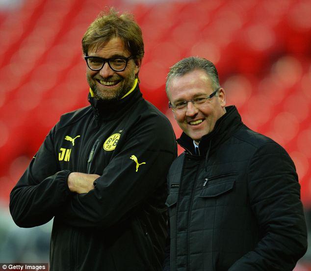 On side: Lambert watches Dortmund train at Wembley