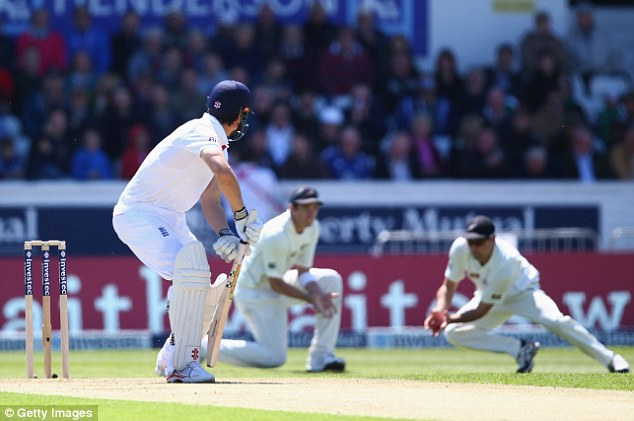 Double blow: Alastair Cook followed Jonathan Trott back to the pavilion when he was caught behind for 34