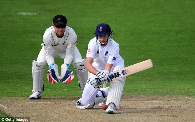 Skills: Joe Root reverse sweeps for four as Brendon McCullum watches on