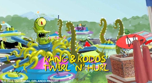 Ride number two: A second ride,  alien characters Kang & Kodos¿ Twirl & Hurl will also be built to entertain visitors