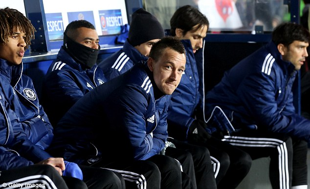 Up in the air: John Terry had to make do with a seat on the bench for much of last season under Rafa Benitez