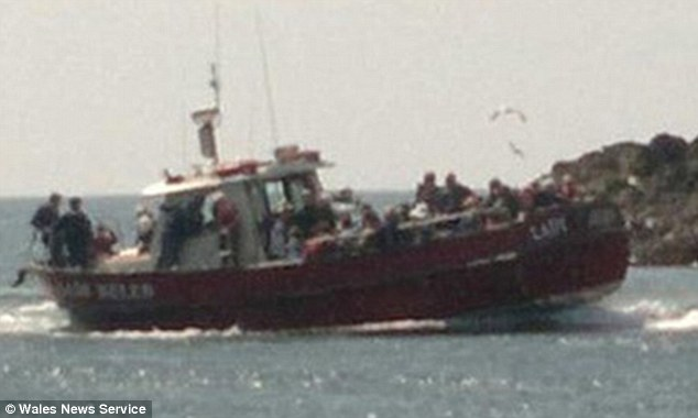 Almost 50 people were rescued this afternoon after the birdwatching boat Lady Helen hit a rock off the Pembrokeshire coast and began to sink