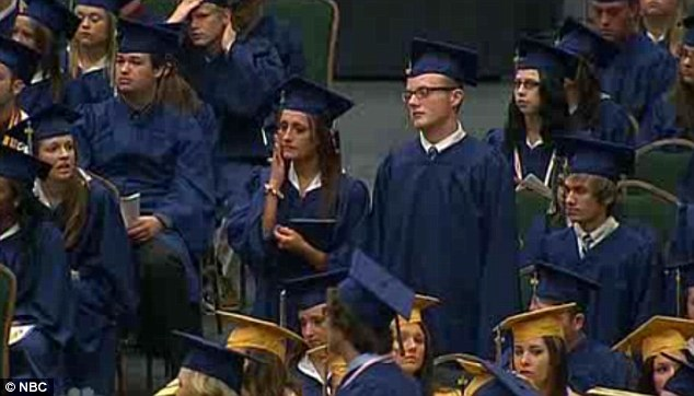 Emotional ceremony: Alyson Costilla, 18, graduated high school on Saturday just days after losing her mom to the terrible tornado that struck Moore, Oklahoma on Monday