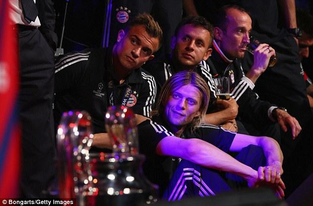 Sidelined: Xherdan Shaqiri, Anatoliy Tymoshchuk and Rafinha did not start the match but celebrated all the same
