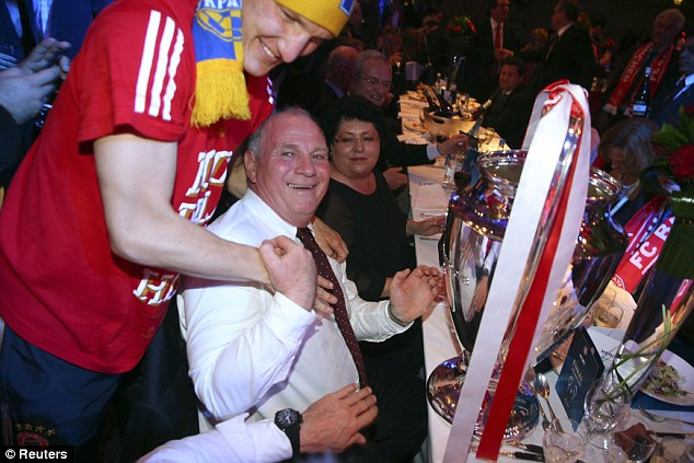 Come here you: Uli Hoeness is congratulated by Schweinsteiger at the Park Lane hotel