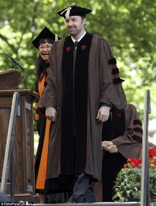 Call him Dr Affleck: Ben Affleck put on a cap and gown to accept his honorary doctorate from Brown University on Sunday