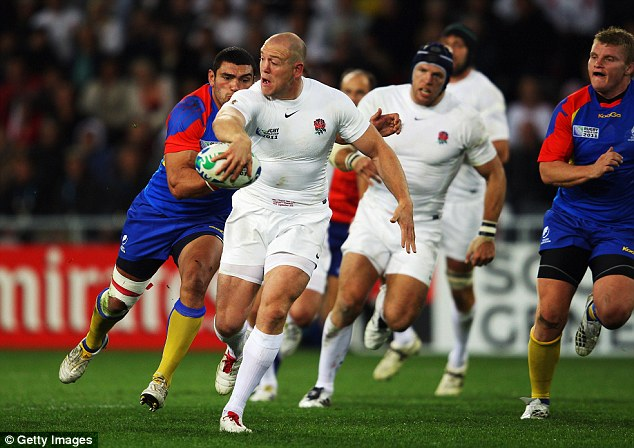 Mike Tindall in action for  England during the 2011 Rugby World Cup in New Zealand