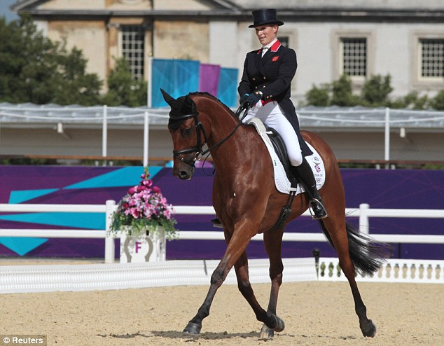 Zara Phillips competes in the dressage event at the London 2012 Olympic Games where she narrowly missed out on a gold medal