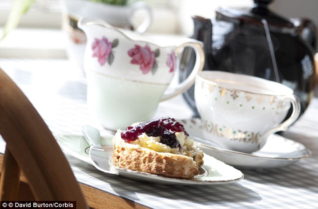 The average scone, weighing 70g, would require 35g of jam and 35g of cream