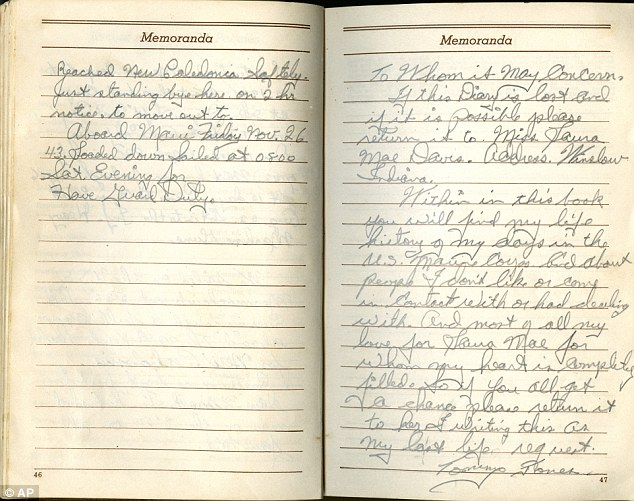 Last life request: Jones wrote in his diary: 'If this diary is lost and if it is possible please return it to Miss Laura Mae Davis'