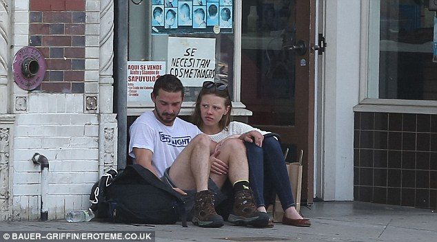 Street savvy: The acting duo slouched outside Shia's martial arts class