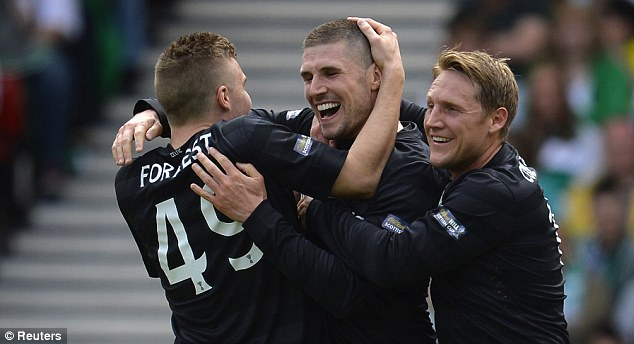 Departing? Gary Hooper (centre) is expected to leave Celtic