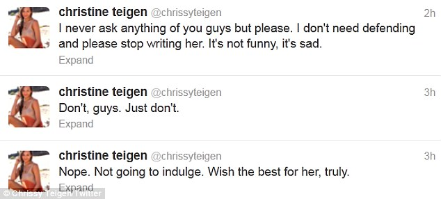 It's sad: Chrissy took to Twitter to tell her followers she was taking the high road