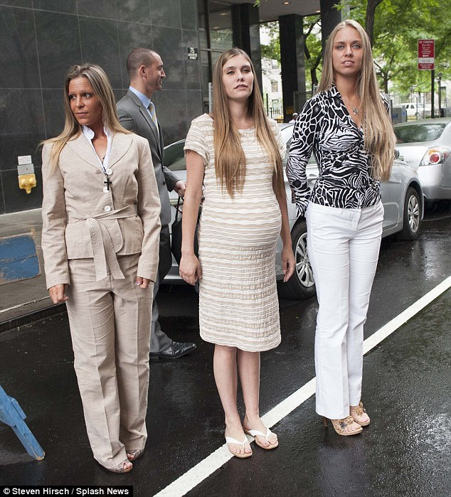'Happy hookers': Self-proclaimed prostitutes Danielle Geissler (left),  Heather Keith (center) and Desiree Ellis (right) testified in Manhattan in defense of their alleged pimps, a father-and-son duo