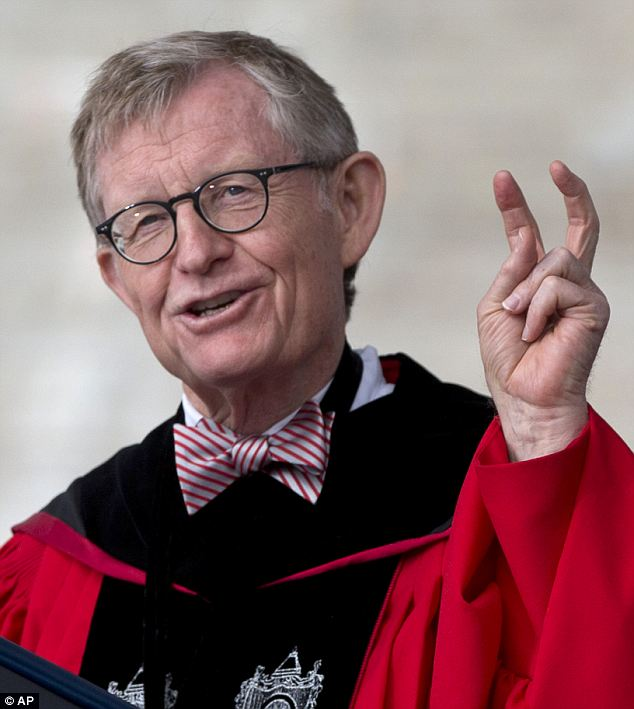 In trouble: Ohio State University president Gordon Gee was heard in a recording joking that the priests at Notre Dame University 'can't be trusted' and that's why they were never accepted into the Big 10 conference