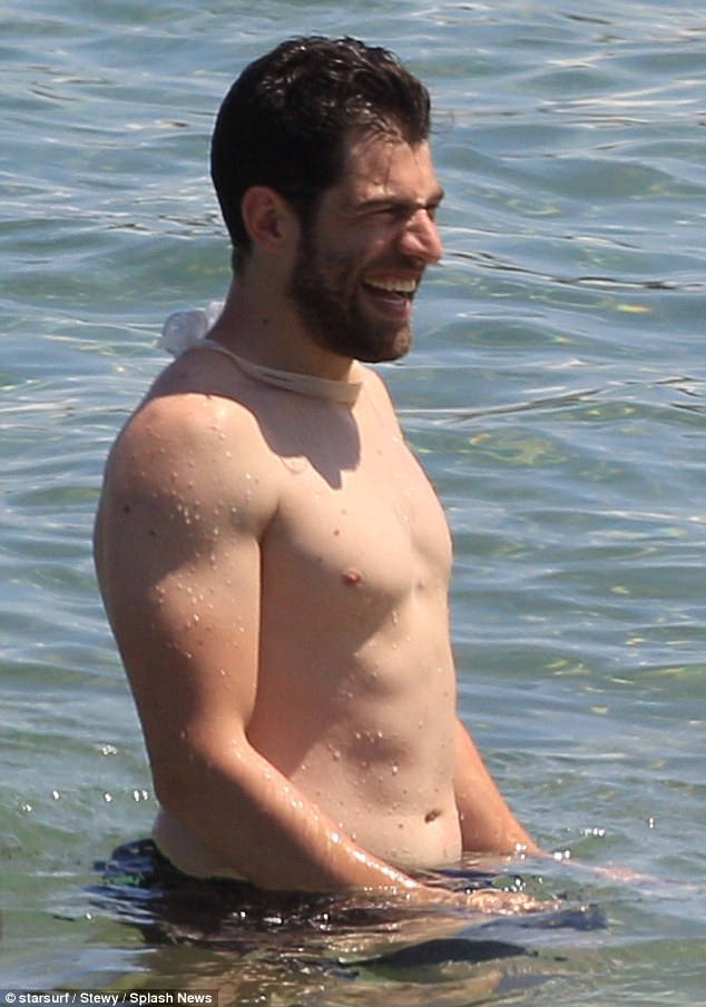 Show off: The New Girl star enjoyed showing off his muscular physique