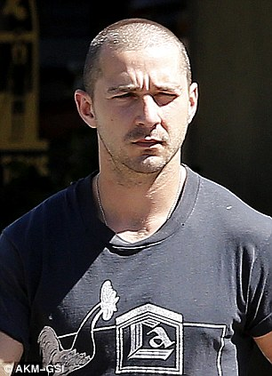 Bad man: Shia displayed his new look as he picked up his daily morning coffee