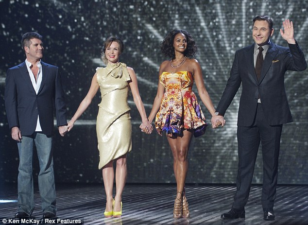 Third time lucky: Amanda and Alesha joined fellow judges Simon Cowell and David Walliams for the third BGT semi-final