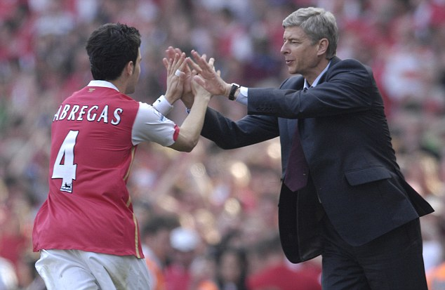 Close relationship: Arsene Wenger nurtured Fabregas's rise through the academy to first-team captain