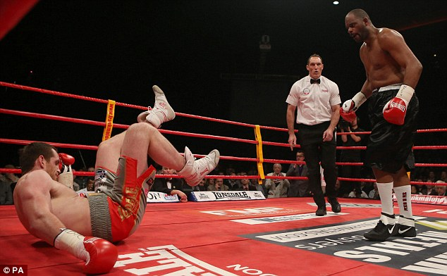 Down and out: Price was stunned by Thompson in February when he lost for the first time as a professional