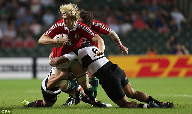 Hair we go: Scotland lock Richie Gray makes another hard charge on his Lions debut
