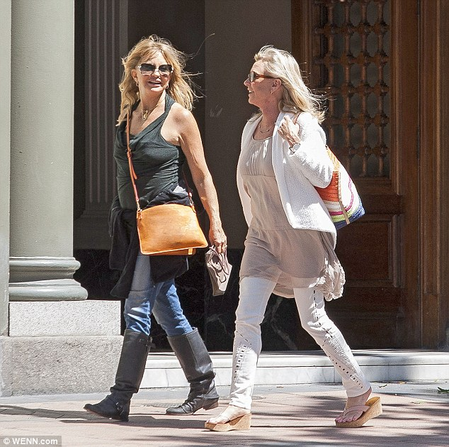 Girl time: She left partner Kurt Russell at home as she lapped up the sightseeing in the Spanish city for the weekend