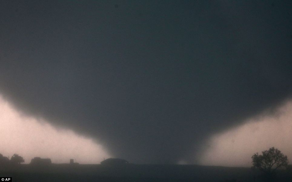 Storm: The tornado that wreaked havoc near Oklahoma City was reported to be a mile wide with winds reaching up to 8mph