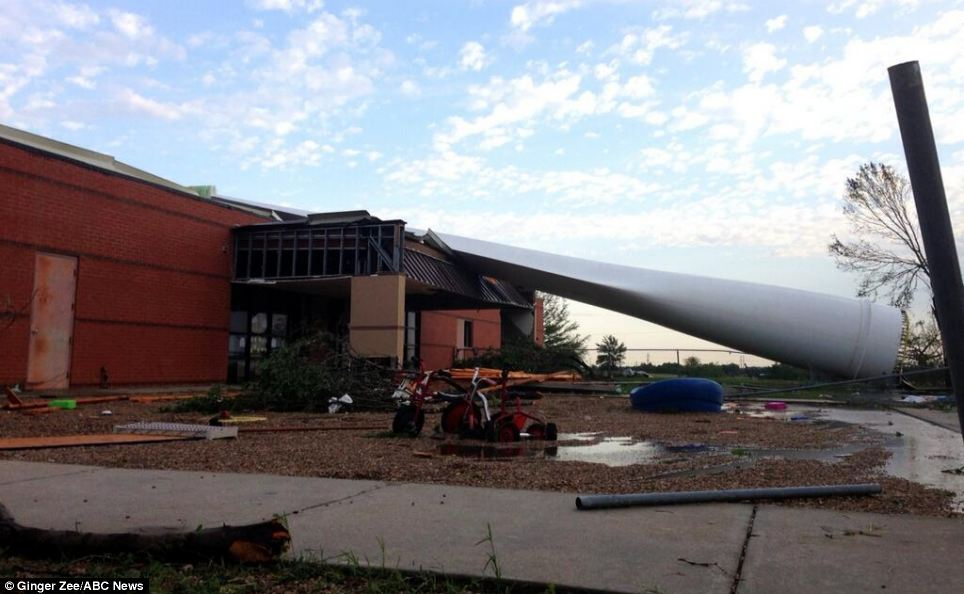 The devastation caused by Friday's storms included a wind turbine blade crashing into a daycare center, fortunately no children were inside