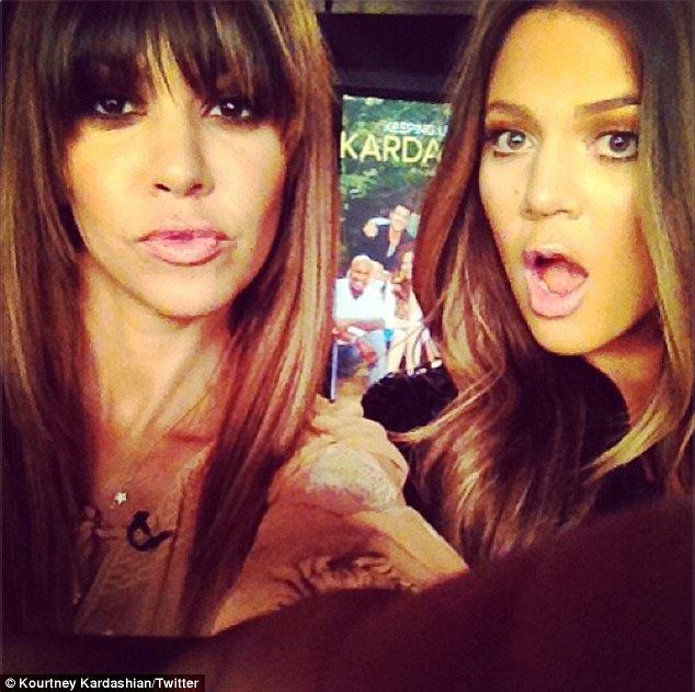 Meeting the press: Kourtney and Khloe also posted an Instagram of themselves doing a satellite media tour for KUWTK's eighth season premiering Sunday on E!