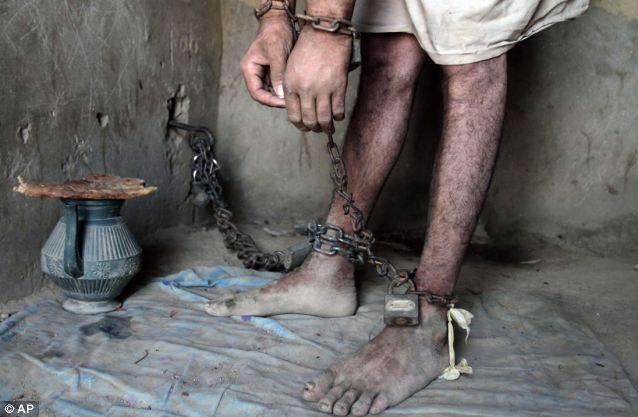 Harrowing: The men are only allowed out of their 'cell' to pray or use a proper toilet if guardians deem their health to be improving