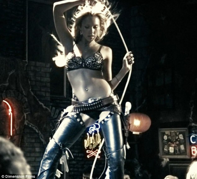'I do a lot more dancing in this one': The brunette beauty will reprise her role as stripper Nancy Callahan in Sin City: A Dame to Kill - coming out August 22 with Joseph Gordon-Levitt, Bruce Willis, and Mickey Rourke