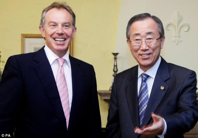 Tony Blair with U.N. Secretary-General Ban Ki-moon in his capacity as envoy for the Quartet of Middle East mediators