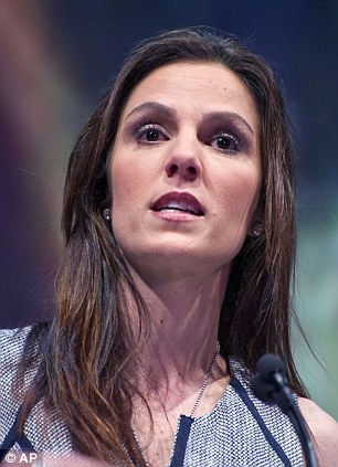 Outspoken: Taya Kyle, widow of author and former army sniper Chris Kyle, speaks during the leadership forum at the National Rifle Association's annual convention in early May