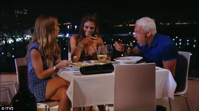 Two's company? Chloe giggled as he chastised her looks but called Lauren gorgeous