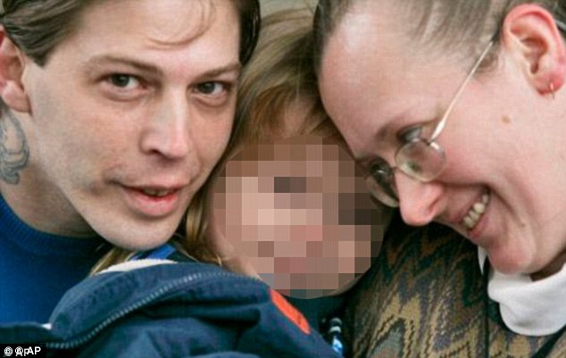 Ordeal: Heath and Deborah Campbell, pictured with son that they named Adolf Hitler, The couple have since separated