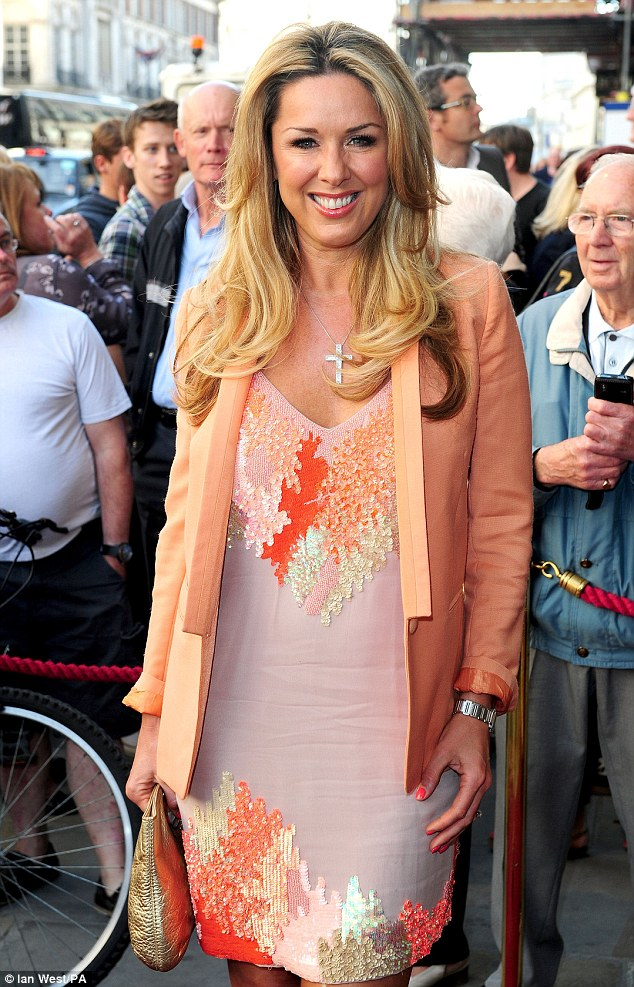 On the carpet: Musicals fan Claire Sweeney also attended looking bright in her sequin adorned dress