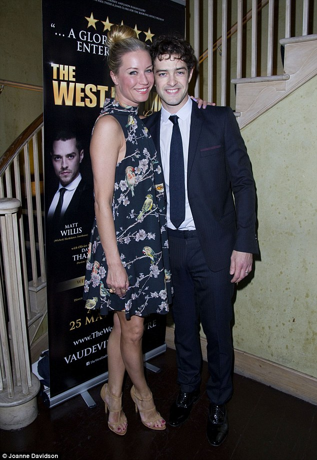 Happy couple: Denise van Outen was out to support Lee Mead at the West End Men in Concert Press Night after party at Adam Street Club in London on Monday