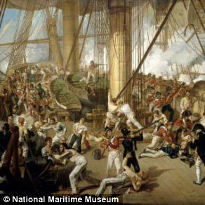 The Fall of Nelson, Battle of Trafalgar, 21 October 1805, by Denis Dighton (1825)