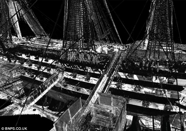 The starboard side of the 250-year-old flagship is shown in this 3D scan.