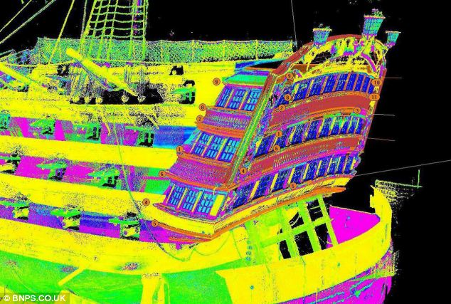 This image is colour-enhanced scan of HMS Victory's gallery.