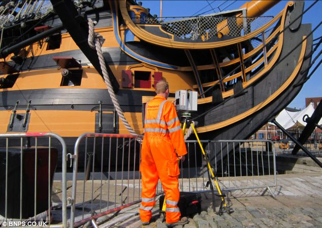 A member of the team from the Downland Partnership scans the ship using the Leica HDS6000 laser scanner.