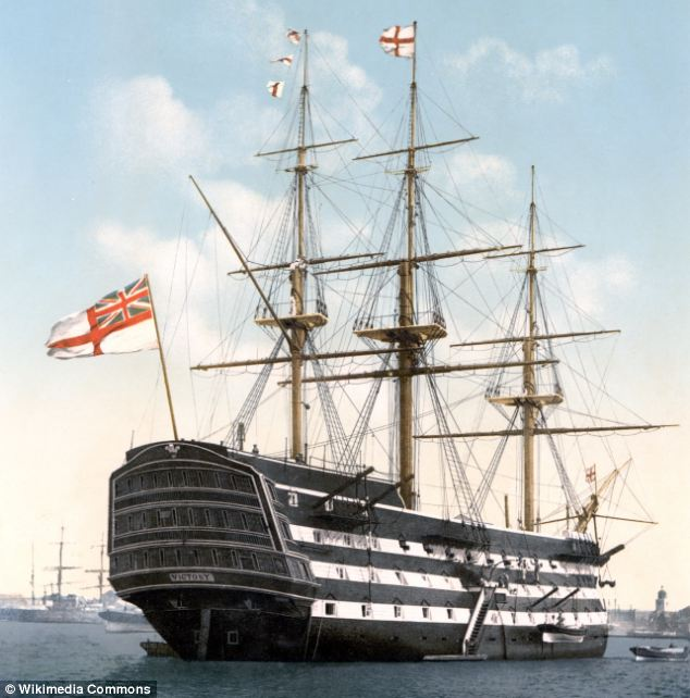 This image shows how the HMS Victory would have looked on duty in 1900.