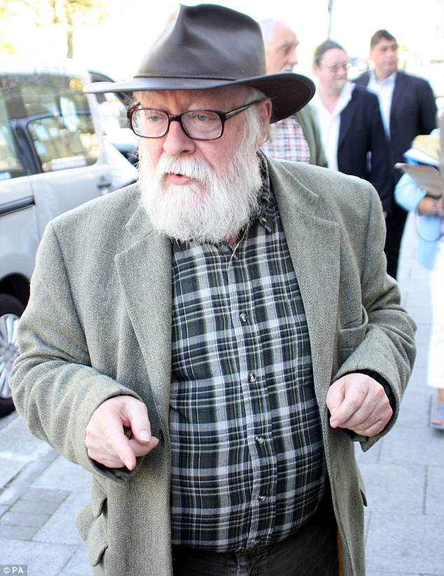 Free man: Shamed artist Graham Ovenden, 70, pictured arriving at Plymouth Crown Court today, escaped with a 12 month suspended sentence