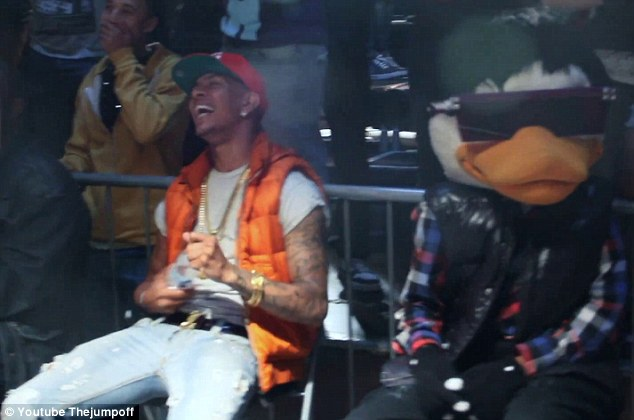 Amused: Totes hilar: Fazer didn't seem to mind people making fun of his ex's drugs charge or sex tape performance