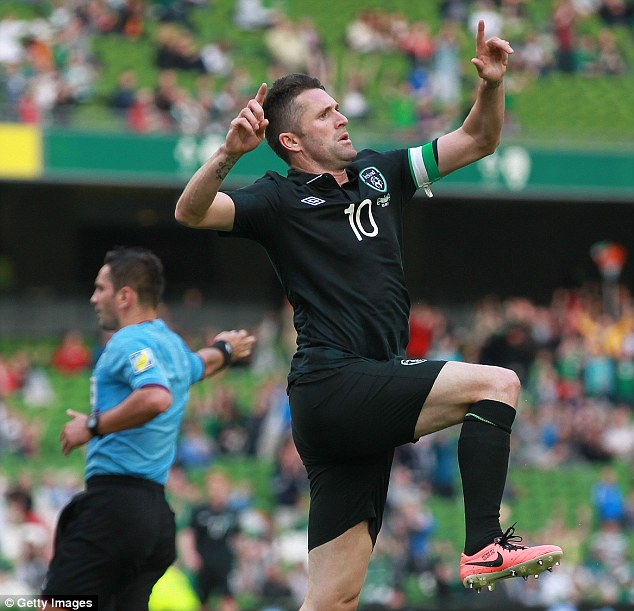 Legend: Keane, who scored twice on Sunday, will surpass Given's record of 125 Ireland caps
