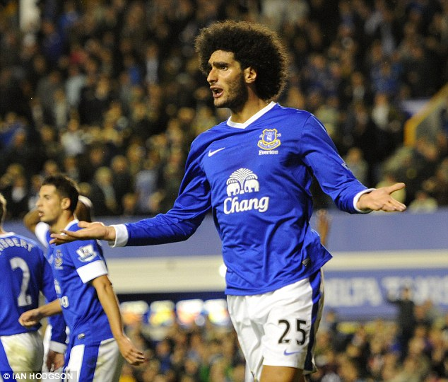 Asset: Everton may wish to cash in on Fellaini, with Kenwright pledging that 100 per cent of proceeds from his sale would be reinvested in new signings