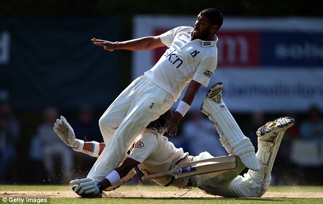 Flying: Harinath wasn't watching where he was going and went straight into Patel