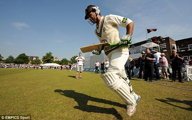 Anticipation: Ricky Ponting running on at Guildford for Surrey