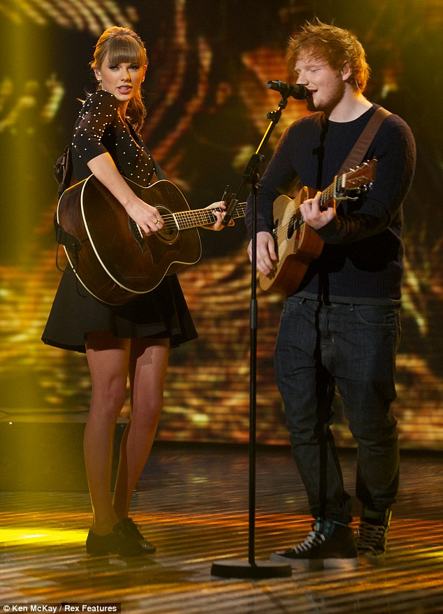 Flirty rendition: Taylor Swift and Ed Sheeran performed their duet Everything Has Changed on the finale of Britain's Got Talent, on Saturday