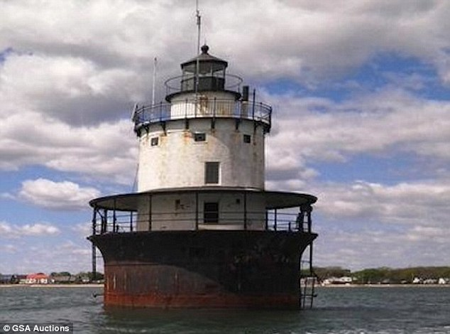 Falling apart: The Butler Flats Lighthouse, pictured, sits just off the coast of New Bedford, Massachusetts